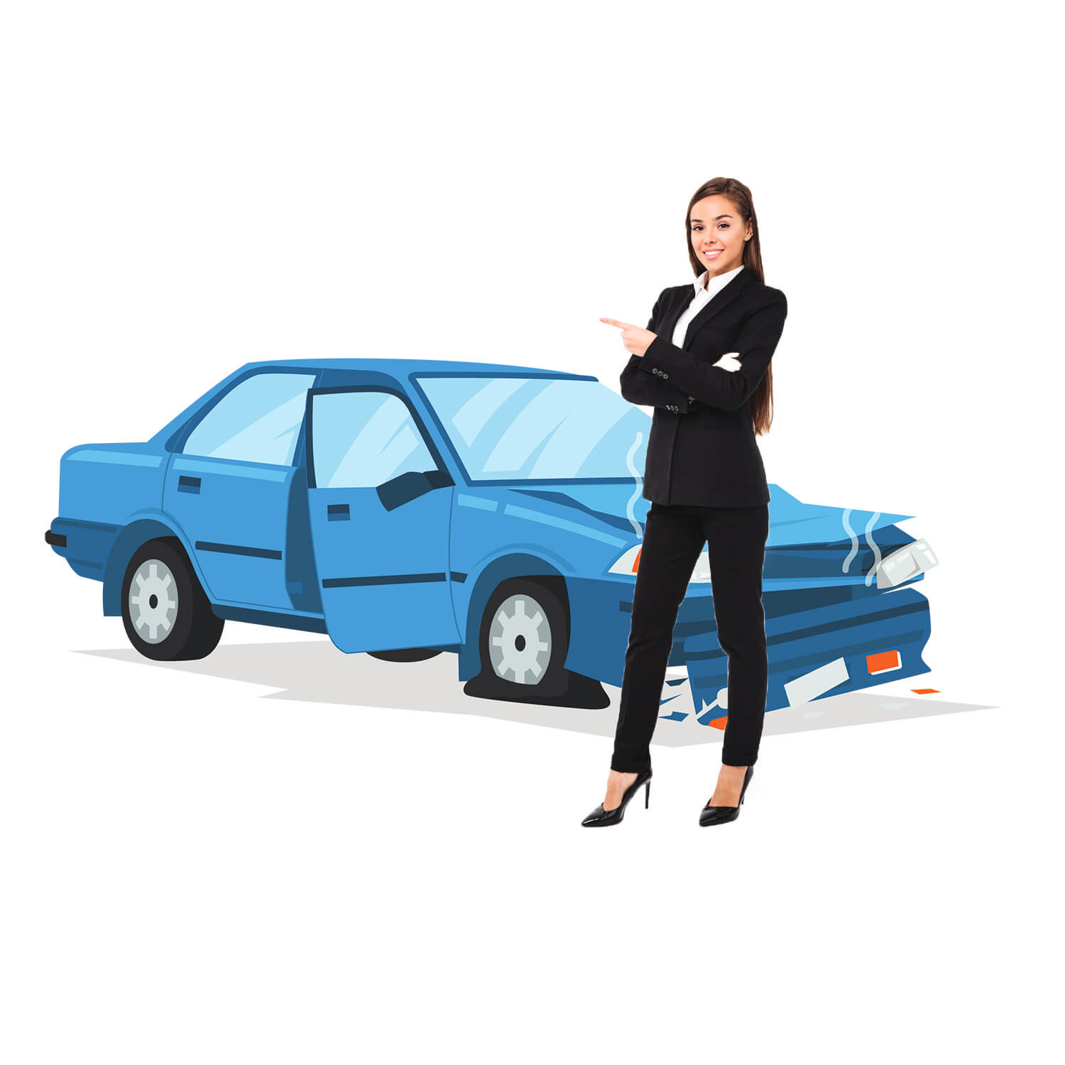 woman with totaled car in the background